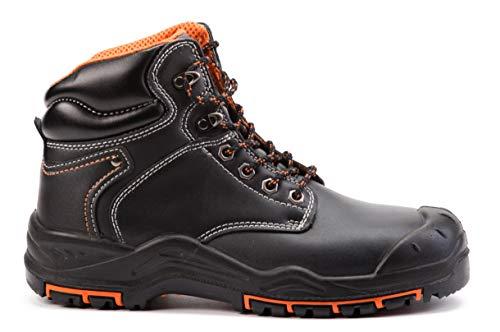 Botas de Seguridad de Cuero para Hombres Puntera de Acero S3 SRC Calzado de Trabajo al Tobillo de Cuero 9972 (42 EU)