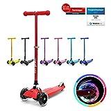 fun pro ONE - der sichere Premium Kinder Roller, LED Räder, faltbar, ab 2 Jahre (Kickboard, Tretroller), TÜV geprüft (Rot)