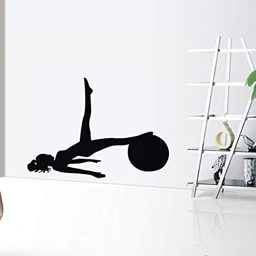 inspirerende slaapkamer muurstickers plafond, vrouwen met bal pilates muursticker vinyl zelfklevende muursticker yoga oefening gym wal42x59cm