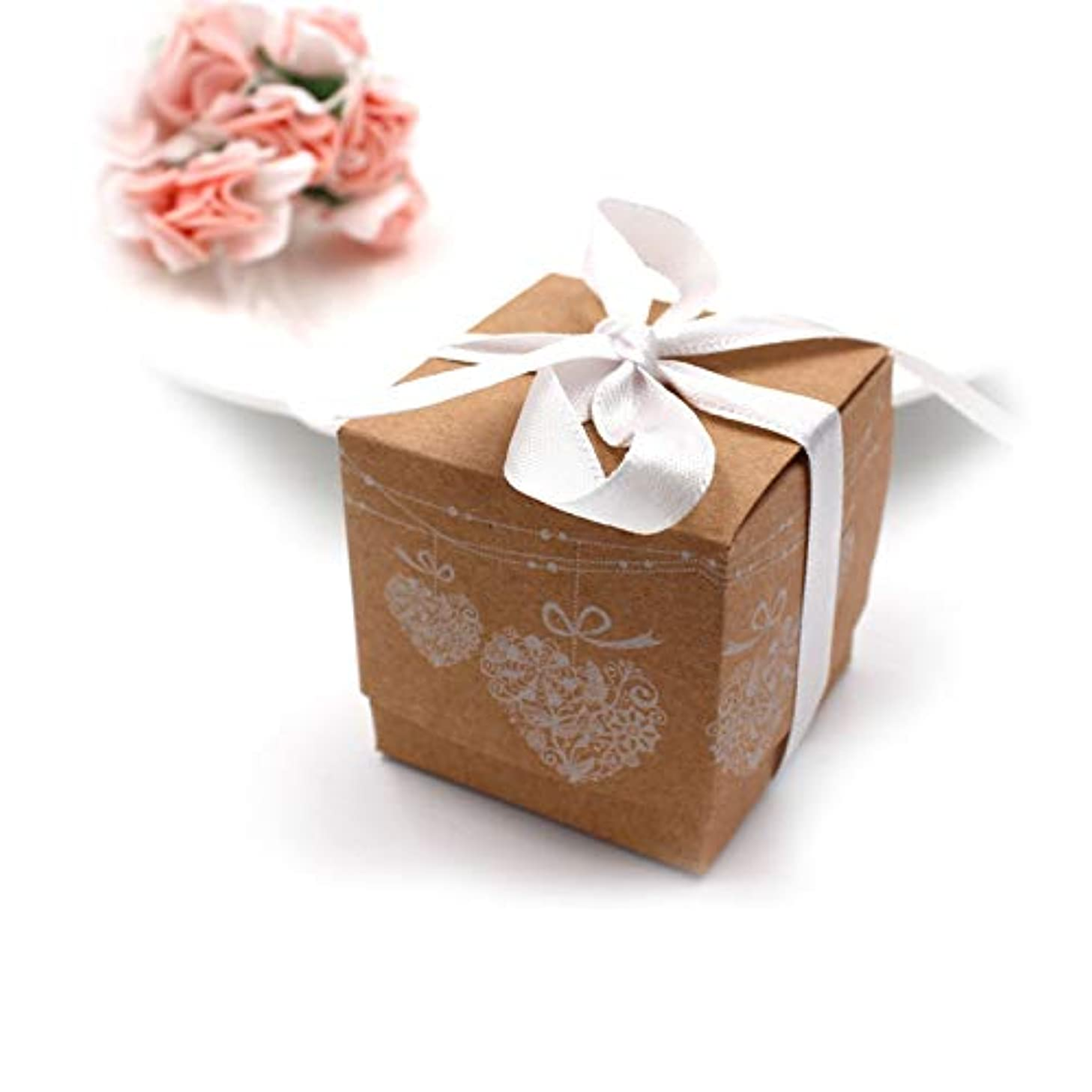50Pcs Small Kraft Boxes,Christmas Paper Candy Boxes,Vintage Style Box with Ribbon,Candy Treat Gift Wrap Box for Bridal Shower Wedding Birthday Christmas Party Favor Decorations