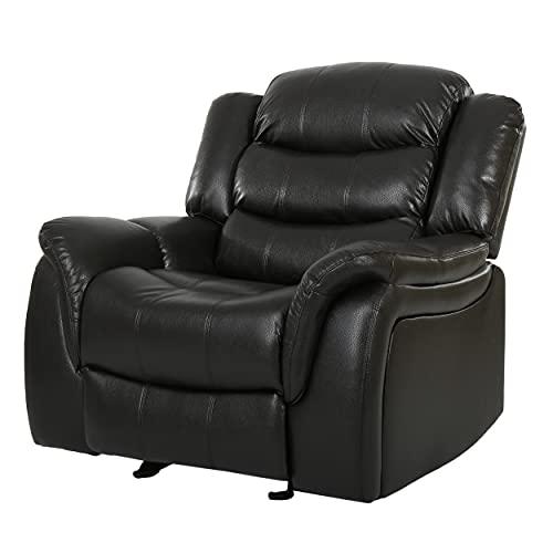 Sillón reclinable Merit Contemporary Glider, Cuero, Cuero negro