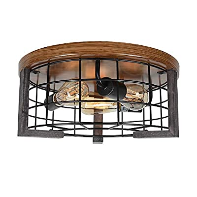 Bizinlumin Round Wood Rustic Ceiling Light Fixture, Farmhouse Flush Mount Close to Ceiling Lighting Industrial Black Metal Cage Entry Kitchen Light 3 Light Edison E26 BY19007