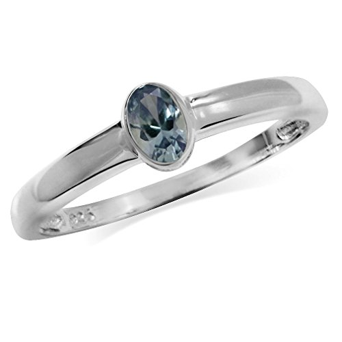 Silvershake Petite Simulated Color Change Alexandrite 925 Sterling Silver Solitaire Ring Size 9
