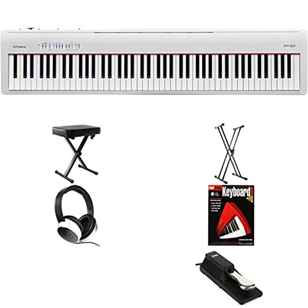 Roland FP-30 (White) Essential Keyboard Bundle