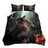 Assassin's Creed - Juego de ropa de cama de 3 piezas de microfibra, 220 x 240 cm, 1 funda de edredón con cremallera y 2 fundas de almohada, suave y agradable