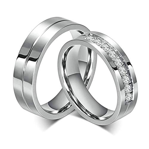 Bishilin Gioielli Anello Acciaio 6Mm Anelli Fidanzamento Coppia per con 2 Rings Donna Dimensioni 17 & Uomo Dimensioni 20