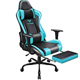 Vitesse Gaming Chair,Office Chair Ergonomic Computer Chair High Back Chair Racing Style Chair with Footrest Headrest and Lumbar Support PU Leather Adjustable Swivel PC Chair Desk Chair,Teal