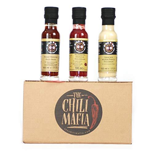 Triple scharfes Geschenkset : 1 Sehr scharfe Chilisauce (100 ml - Schärfegrad 8 bis 10), und 2 Mittelscharfe Saucen Mitte (100 ml - 4 bis 7) /Slow Food Chilisaucen Manufaktur EINWEG