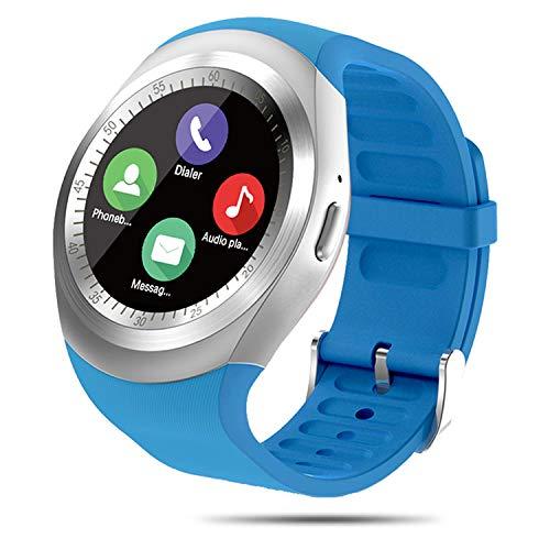 FENHOO Reloj Inteligente, rastreador de Actividad física para Mujeres y Hombres con Ranura para Tarjeta SIM, Reloj con podómetro, recordatorio de notificación de Facebook Twitter para Android (Azul)