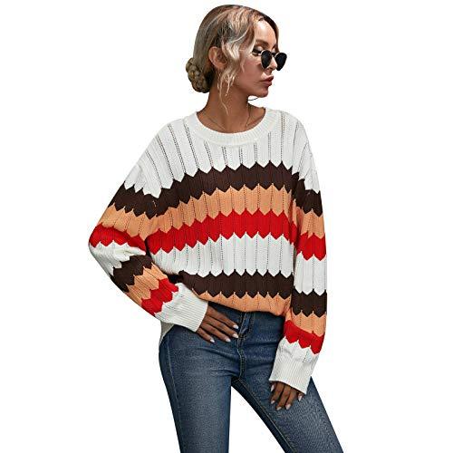 None/Brand Suéter de Mujer Patrón de Onda con Bloqueo Color Jersey de Informal