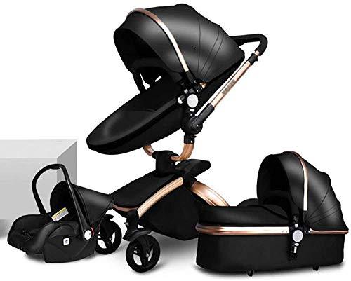 BATOWE Cochecito compacto y ligero cochecito de bebé for el niño, cochecito 3en1-Can sentarse y acostarse ligero, plegable cama de bebé, con toldo, Cesta que lleva, Viajes Sistema de Rotación de 360 