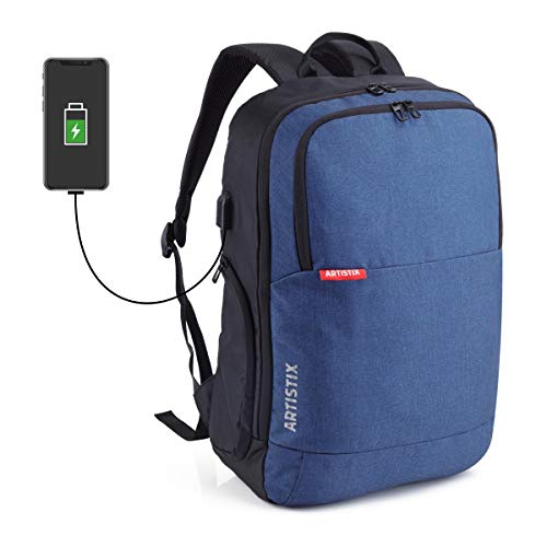 """Artistix Philon 15.6"""" USB Charging Backpack for Laptop, Anti Theft Casual Daypack (Blue)"""