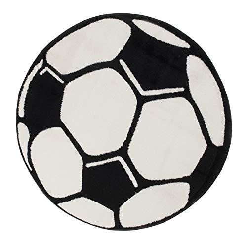 Tapiso Kinder Teppich Kurzflor Kinderzimmer Kinderteppich Fußball Motiv Schwarz Weiß Rund Spielteppich Jugendzimmer ÖKOTEX 100 x 100 cm