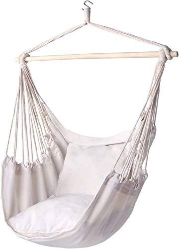 Hangstoel Stoel Hangtouw Swing-Max 320 Lbs-2 Zitkussens Inbegrepen-Kwaliteit Katoenweefsel voor Superieur Comfort Duurzaamheid, voor Tuin, Strand, Binnen, Buiten-Rijst kleur
