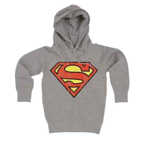 Logoshirt DC Comics - Superman Logo Sweatshirt à Capuche - Pull-Over à Capuche - Gris chiné - Design Original sous Licence, Taille XL