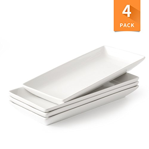 Porcelain Serving Platters, Rectangular White Microwave And Dishwasher Safe Set of 4