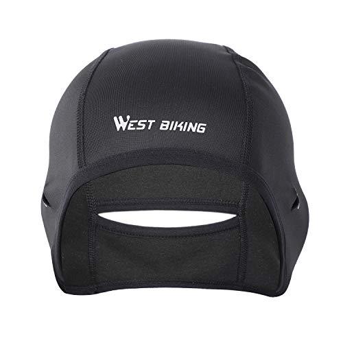 ICOCOPRO Radsport Skull Cap Thermo Beanie Helm Liner mit Ohrenschutz Sonnenbrille Loch - Schwarz - Einheitsgröße