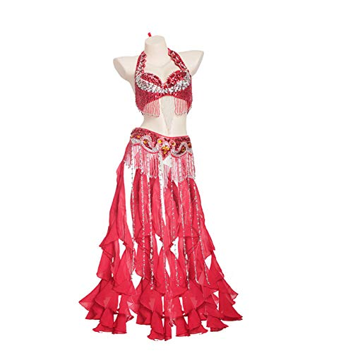 MEIGUI Traje De Baile De Las Lentejuelas De Las Mujeres Sujetador Fringe Sujetador, Rhinestone Cinturón De Cintura Rendimiento Disfraz De Baile C-M