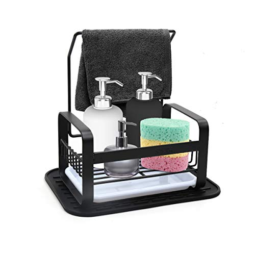 IEBIYO Sponge Holder With Towel Bar,Stainless Steel Kitchen Sink Cleaning Caddy Organizer For Sponges, Scrubbers, Dish Brushes,Sponge Holder With Removable Tray And Silicone Mat (Black, Small)