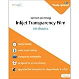 Octago Waterproof Inkjet Transparency Film for Screen Printing (60 Pack) Transparency Paper for Inkjet Printers - Print Color Transparent Paper Designed For Silk Screen Printing (8.5x11 Inches)