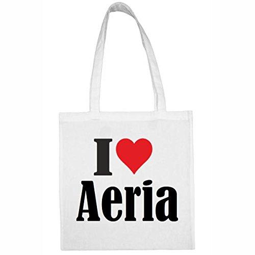 Tasche I Love Aeria Größe 38x42 Farbe Weiss Druck Schwarz