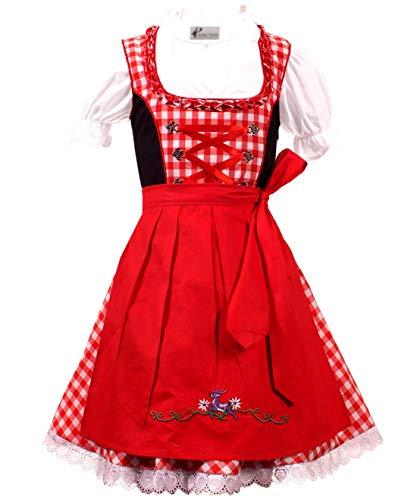 Kiddy Tracht 3tlg. Kinder Dirndl KD-217, 152, Rot Weis Kariert