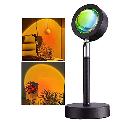 Sunset Projection Lamp, LHYCS Sunset Projector Floor Lamp USB Powered Romantic LED Rainbow Atmosphere Night Light 360 Degree Rotation for Bedroom Livingroom Party Bar Store (Red & Orange-Sunset)
