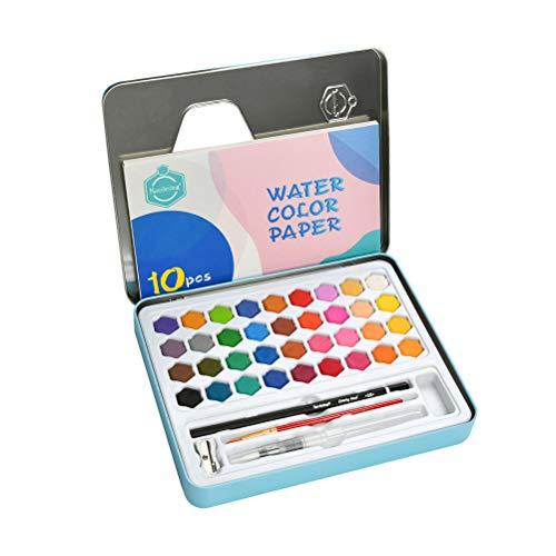 TIMESETL - Juego de pintura para acuarelas para adultos, niños, 36 colores, bolsillo de viaje, portátil, ideal para estudiantes principiantes, artistas profesionales, pintores de pasatiempos