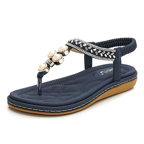 Minetom Damen Sandals Frauen Sandalen Sommer Bohemian Strass Blumen Flach Sandaletten PU Leder Zehentrenner Boho T-Strap Clip Toe Flip Flops D Blau 40 EU