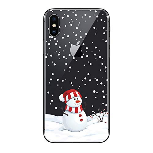 """BoomTeck Case for iPhone Xs Christmas, Slim Fit iPhone X/iPhone Xs Case Ultra Thin Clear Design Transparent Flexible Cover Xmas Winter Snowman Snowflake Pattern Soft TPU Rubber Protective Case (5.8"""")"""