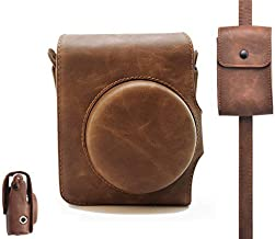 HelloHelio Instax Mini 90 Leatherette Compact Camera Case with Pocket Strap For Fujifilm Instax Mini 90 Neo Instant Film Retro Classic Cameras [2018 NEW Version](Brown)