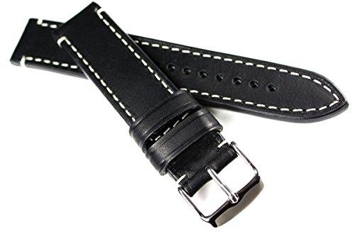 20mm RIOS1931 kräftiges Rindsleder Military Style Armband Retro Look Schwarz Weiße Naht Militär Marine Fliegerband CT 20/20mm