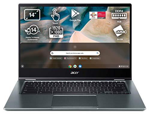 Acer Chromebook Spin 514 - Ordenador Portátil 2 en 1 Convertible y Tactil 14' Full HD, Laptop (AMD Athlon N3050C, 4GB RAM, 64GB SSD, UMA Graphics, Chrome OS) PC Portátil Color Plata - Teclado QWERTY