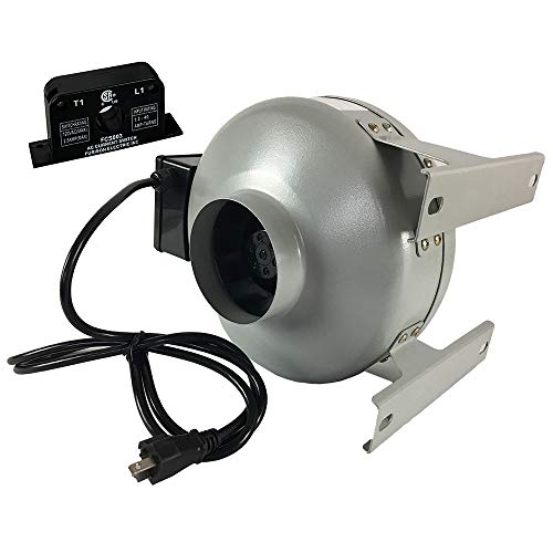 """Tjernlund M-49504351 in-Line Fan with Current Sensor Switch Dryer Duct Booster M-4, Metal, 4"""""""