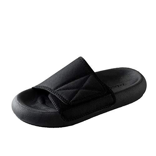 Damesschoenen met oedeem, brede teenslippers Strand- en zwembadschoenen Unisex verstelbaar voor gezwollen voeten Ouderen Plantaire fasciitis Diabetes,Black,36
