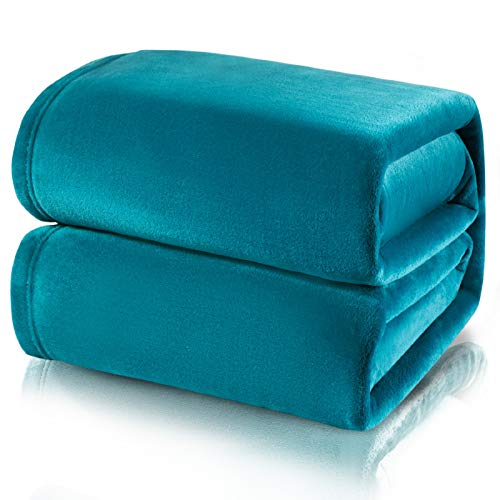 Bedsure Manta para Sofás de Franela 230x270cm - Manta para Cama 180 Reversible de 100% Microfibre Extra Suave - Manta Verde Azulada Transpirable
