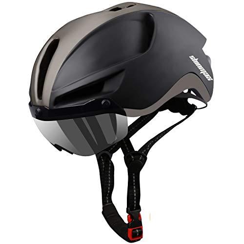 Shinmax Casco Bicicleta,Casco Bicicleta Mujer para con Magnética Visera,Casco MTB con Luz...