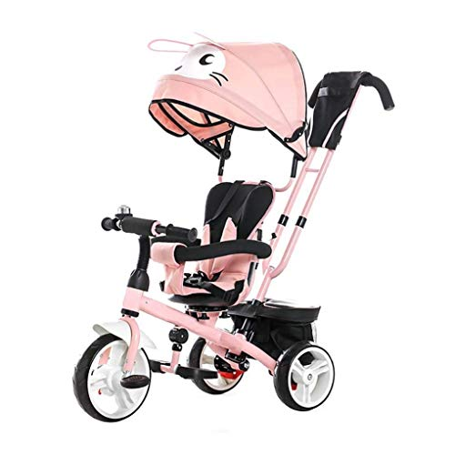 FENGTING Baby-Tricycle Sitz Rotating Kind Dreirad Kind Moped Trolley-Kinderwagen (Farbe: blau) (Color : Pink)