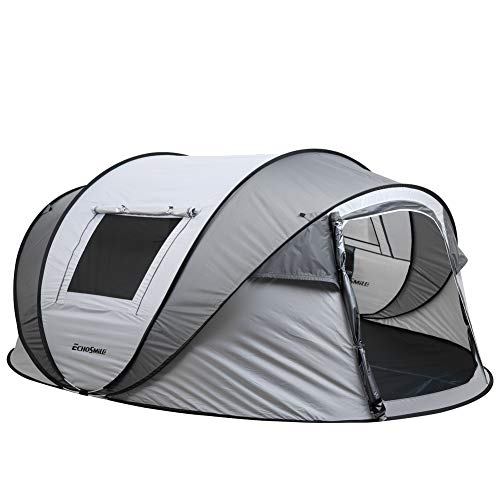 EchoSmile Camping Instant Tent, 2 to 8 Person Pop Up Tent, Water Resistant Dome Tent, Easy Setup for Camping Hiking and Outdoor, Portable Tent with Carry Bag, for 4 Seasons (White&Gray(5-8 Person))