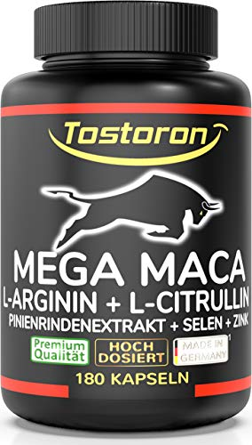 Tostoron MEGA MACA extra stark + hochdosiert - 180 Kapseln Maca Extrakt 50:1 + L-Arginin, L-Citrullin, PinienrindenExtrakt, Selen, Zink, 1 Dose(1x145,2g) hol dir den TOSTORON HAMMER direkt nach Hause!