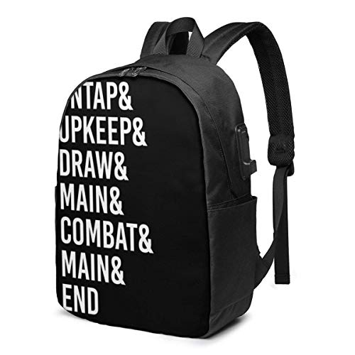 Magic The Gathering Game Phases USB School Backpack Large Capacity Canvas Satchel Casual Travel Daypack for Adult Teen Women Men 17in