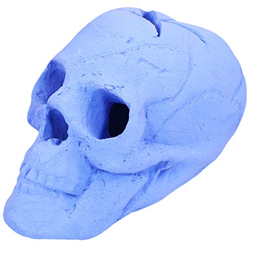 Barton Imitated Human Skull Ceramic Indoor or Outdoor Skull Gas Log for Natural Gas LP Wood Fireplace Firepit Campfire Halloween Decor, BBQ (Blue)