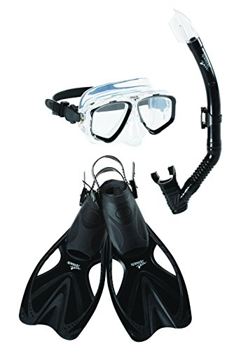 Speedo Unisex-Adult Adventure Swim Mask, Snorkel & Fins Set,Black/Black,Large/X-Large