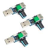USB Fan Speed Controller, DC 5V Stepless Mini USB Fan Governor DC 4-12V to 2.5-8V 5W Regulator Speed Control Knob with Switch(3PCS)