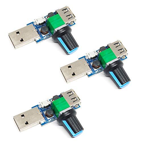Mini controlador de velocidad de ventilador USB de 5 W, regulador de ventilador USB continuo de 5 V CC, regulador de velocidad de 4-12 V a 2,5-8 V, mando con interruptor (3 piezas)