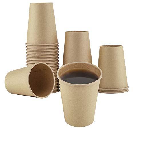 LOMOFI 50 PCS Vasos Desechables,12 OZ Vaso de Papel Kraft,Impermeable Café para...