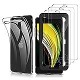 laxikoo Funda Compatible con iPhone SE 2020/iPhone 8/iPhone 7, 3 Pack Protector Pantalla con Marco de Alineación, Silicona Transparente TPU Carcasa Caso Anti-arañazos Anti-Choque Carcasa Protectora