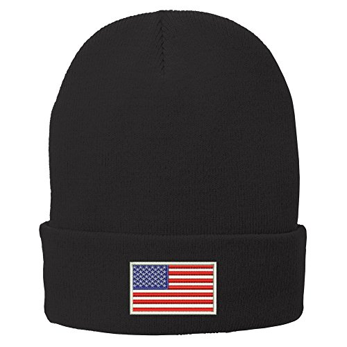 Trendy Apparel Shop US American Flag White Embroidered Winter Folded Long Beanie - Black