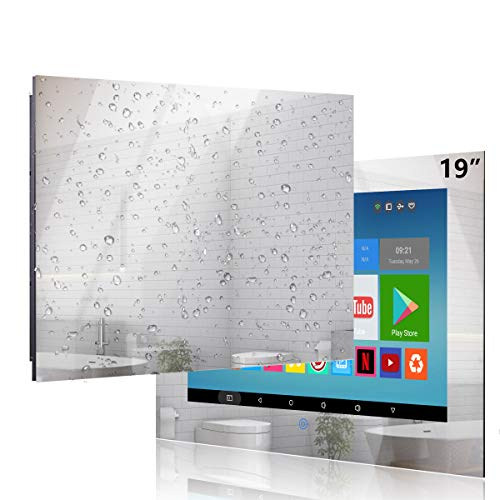 Haocrown 19' Bathroom Waterproof TV Smart Mirror LED TV Android 10.0 System...