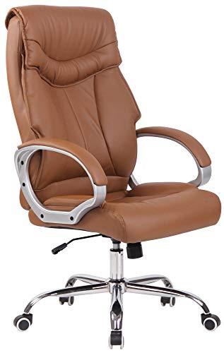 CLP Sedia da ufficio Torro con rivestimento in similpelle e imbottitura, sedia ergonomica da ufficio con seduta regolabile in altezza, sedia girevole con schienale, colore: marrone chiaro